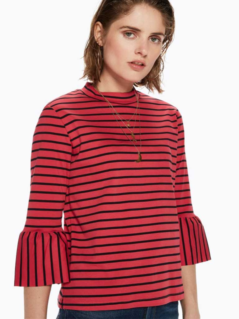 Maison Scotch Striped Ruffle Tee in Red & Black