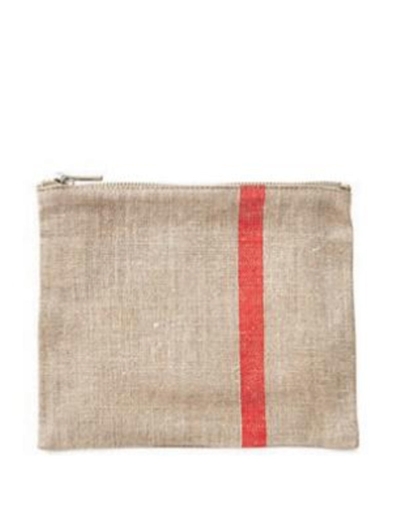 Fog Linen Work Carol Pouch in Red Line