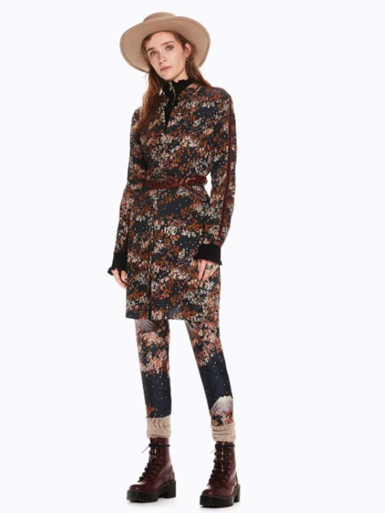 Maison Scotch Blossom Print Shirt Dress