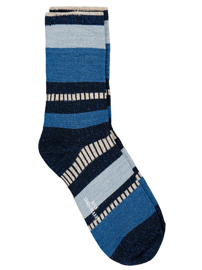 Becksondergaard Daphne Block Socks in Dusty Blue