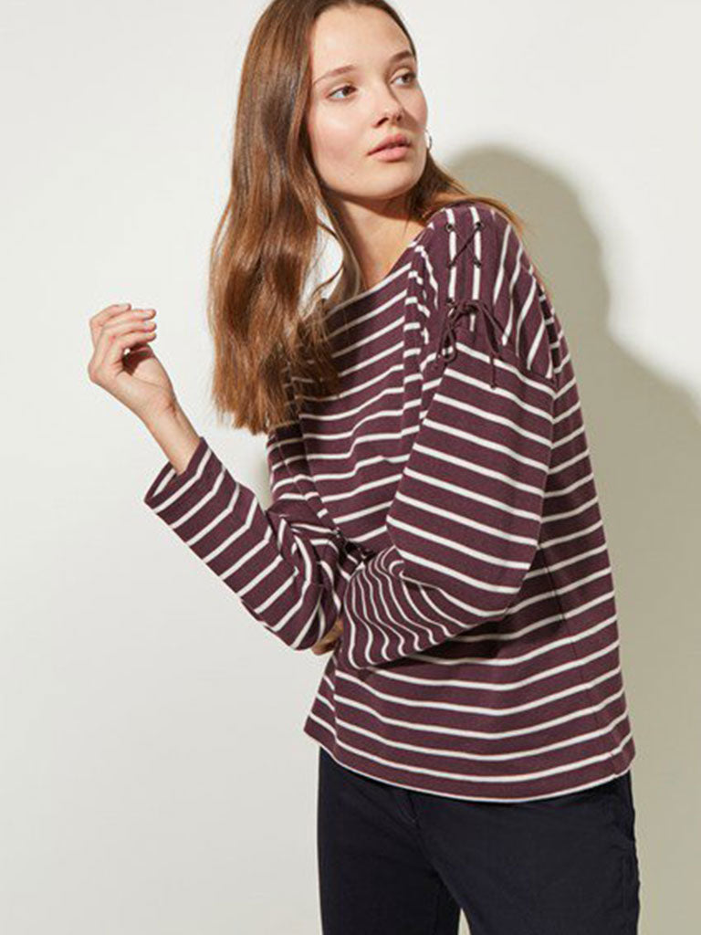 Great Plains Lace Up Top in Bordeaux and Milk