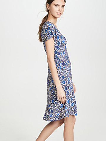Velvet Juna Floral Challis Dress in Bluebell