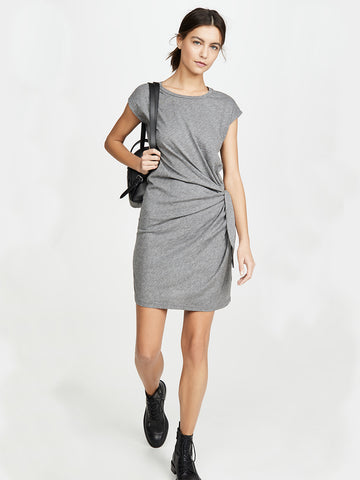 Velvet Gussie Tie Waist Dress in Grey