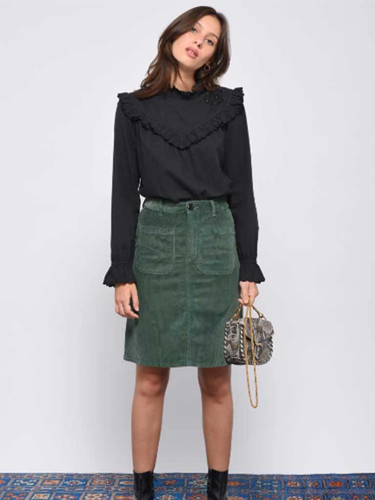 Leon & Harper Jubile Velvet Cord Skirt in Green