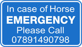 IN CASE OF HORSE EMERGENCY SIGN for horsebox or stable doors - Vinyl Vision