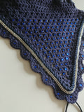 Navy tie down fly veil with blue Swarovski crystals and silver crystal trim - Vinyl Vision