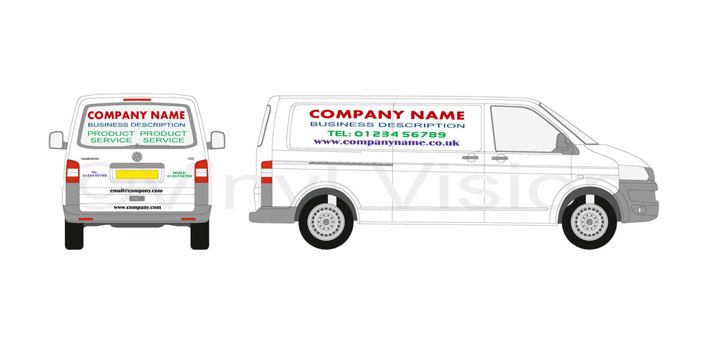 Large Van Bespoke graphics self fit Transporter Transit Sprinter Daily
