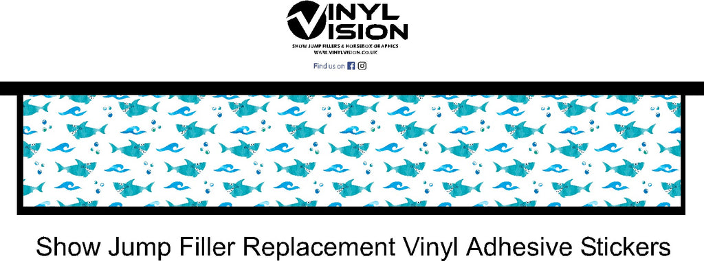 blue white shark spooky scary horse show jump filler vinyl vision sticker graphics  jump4joy