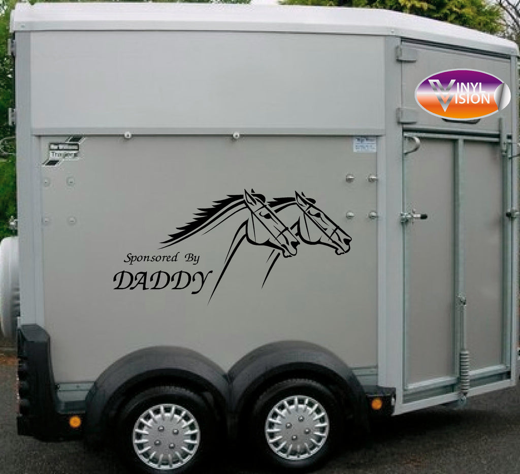 Sponsored By Daddy for car, lorry, trailer, horsebox stickers - small size - Vinyl Vision