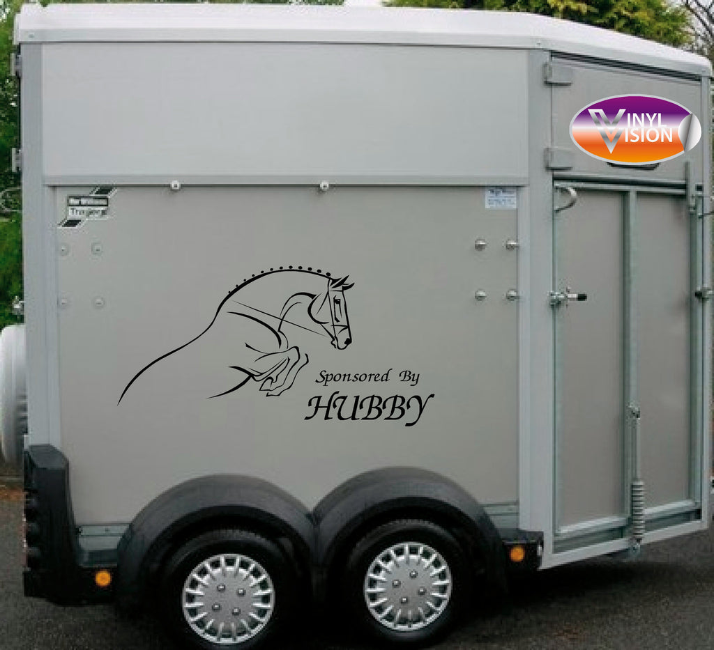 Sponsored By Hubby for car, lorry, trailer, horsebox stickers - small size - Vinyl Vision