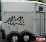 Driving Horse Heads car, lorry, trailer, horsebox decal. Size Medium - Vinyl Vision