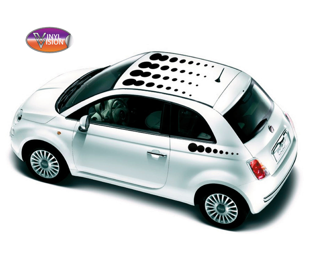 Fiat 500 Drop Spots Roof & Side Stripes Sticker Kit. - Vinyl Vision