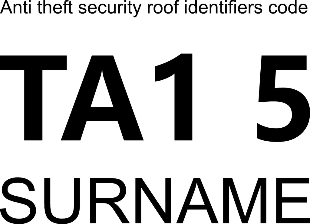 Anti theft security roof identifiers code for lorry, trailer, horsebox stickers - Large size - Vinyl Vision