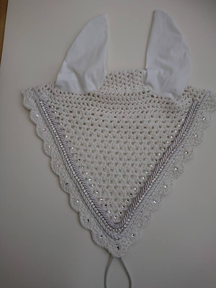 White tie down fly veil with clear Swarovski crystals, silver crystal trim and silver pipping. - Vinyl Vision