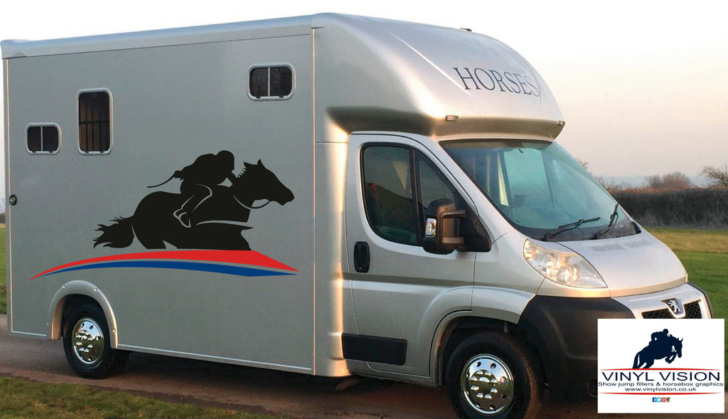 Race Horse and jockey with Stripes for lorry, trailer, horsebox decal- Large size - Vinyl Vision