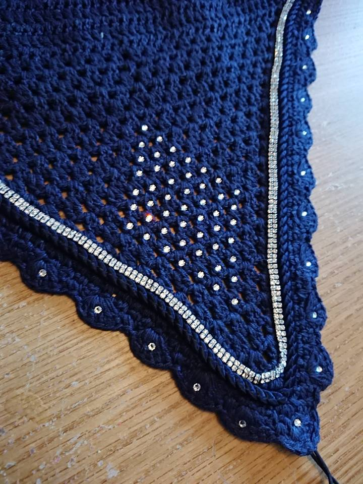 Navy tie down fly veil with clear Swarovski crystals and silver crystal trim - Vinyl Vision