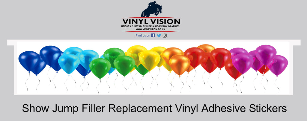 Bright colourful spooky scary balloons show jump filler sticker, Jumpforjoy, vinyl vision