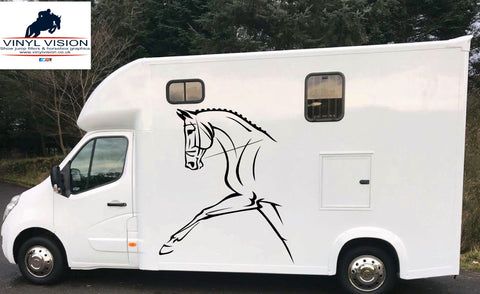 Dressage horse with stripes for car, lorry, trailer, horsebox decal - medium size