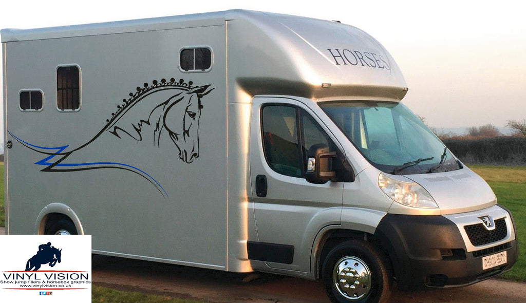 Dressage horse head with stripes for car, lorry, trailer, horsebox decal -  medium size - Vinyl Vision