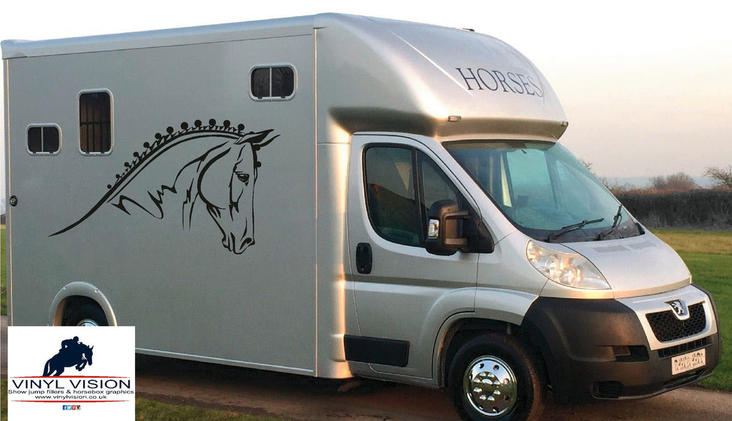 Horse Head for car, lorry, trailer, horsebox decal - Medium size - Vinyl Vision