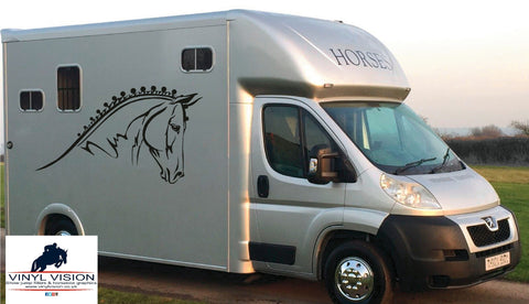 Driving Horse Heads car, lorry, trailer, horsebox decal. Size Medium