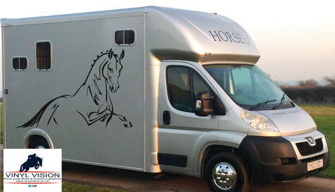 Dressage horse head with stripes for car, lorry, trailer, horsebox decal -  medium size