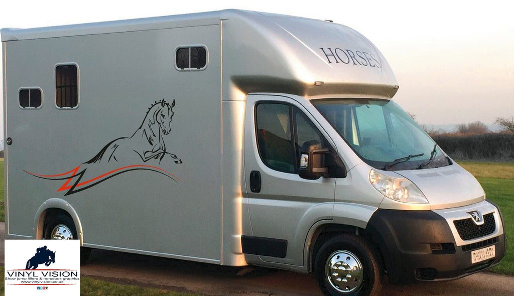 Dressage horse with stripes for car lorry trailer horsebox decal medium size