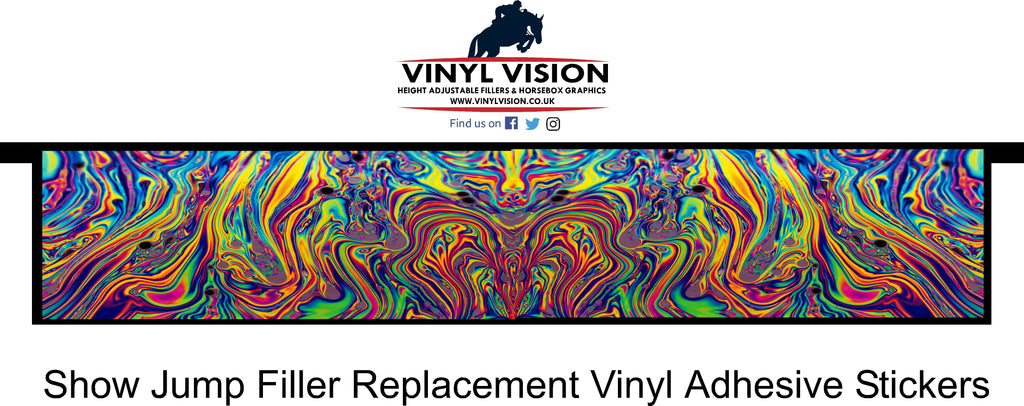 Oil rainbow show jump filler sticker bright spooky scary. Vinyl Vision. DIY horse jump for sale