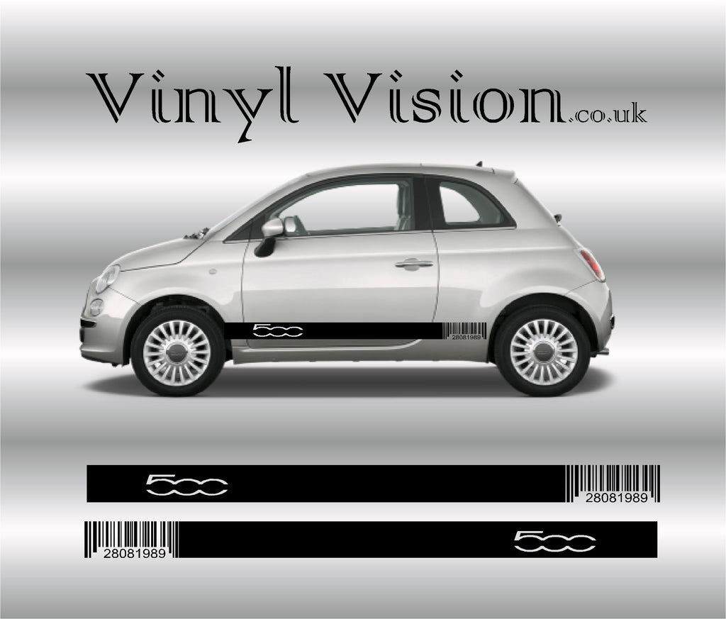 Fiat 500 Barcode Side Racing Stripes sticker kit.