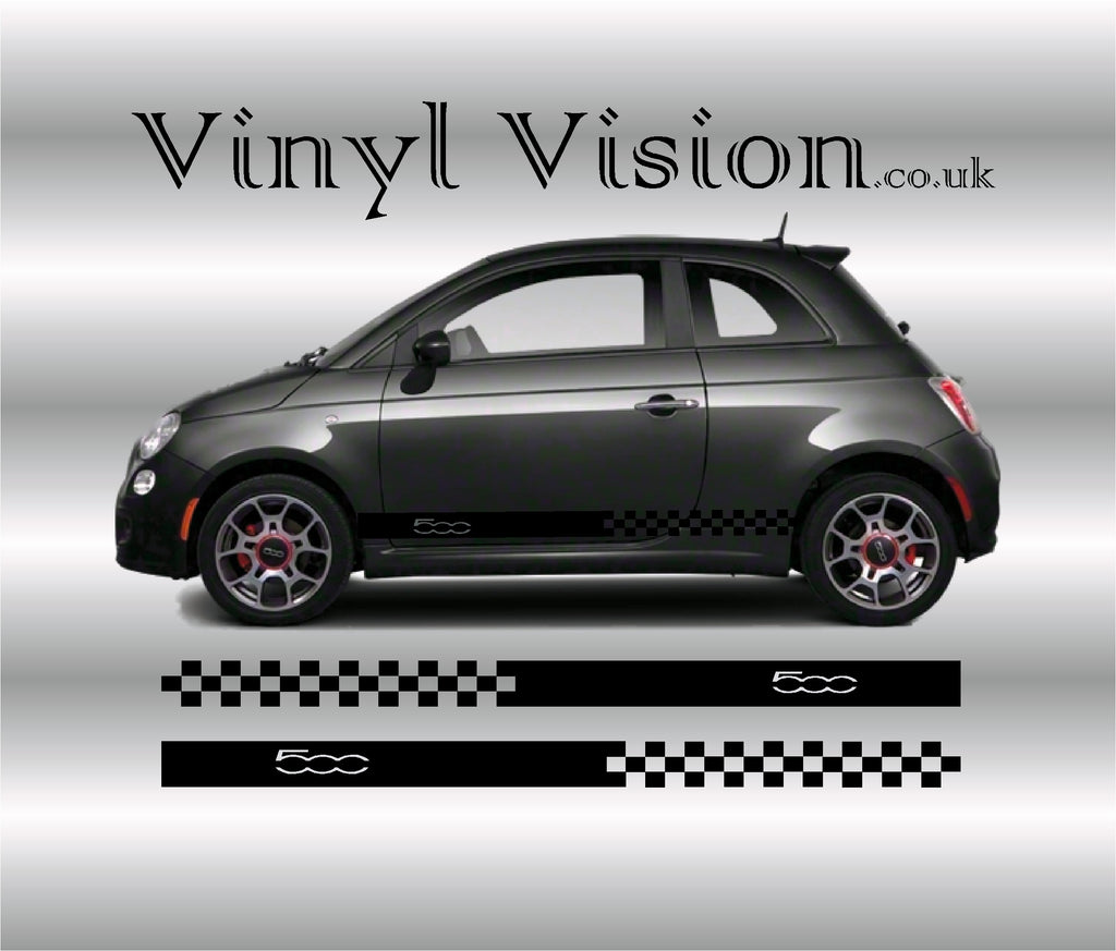 Fiat 500 Side Racing Stripes sticker kit. - Vinyl Vision