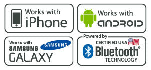 Compatible with iPhone, Samsung Galaxy, Android all Powered By Certified Bluetooth USA Technology