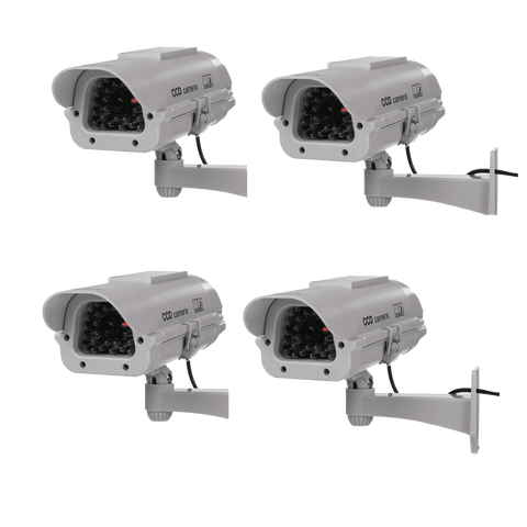 Masione® 4 Pack Outdoor - Indoor Solar Powered CCTV Dummy Security Camera Fake Cam with Flash LED