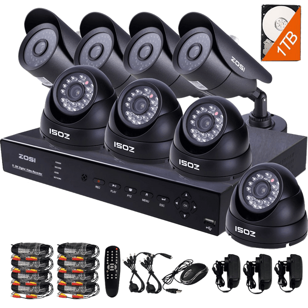 ZOSI 8CH 900TVL HD Security Camera System with 8 Indoor- Outdoor Night Vision Security Cameras 1TB HDD 8channel HDMI DVR Smartphone view and Remote Access