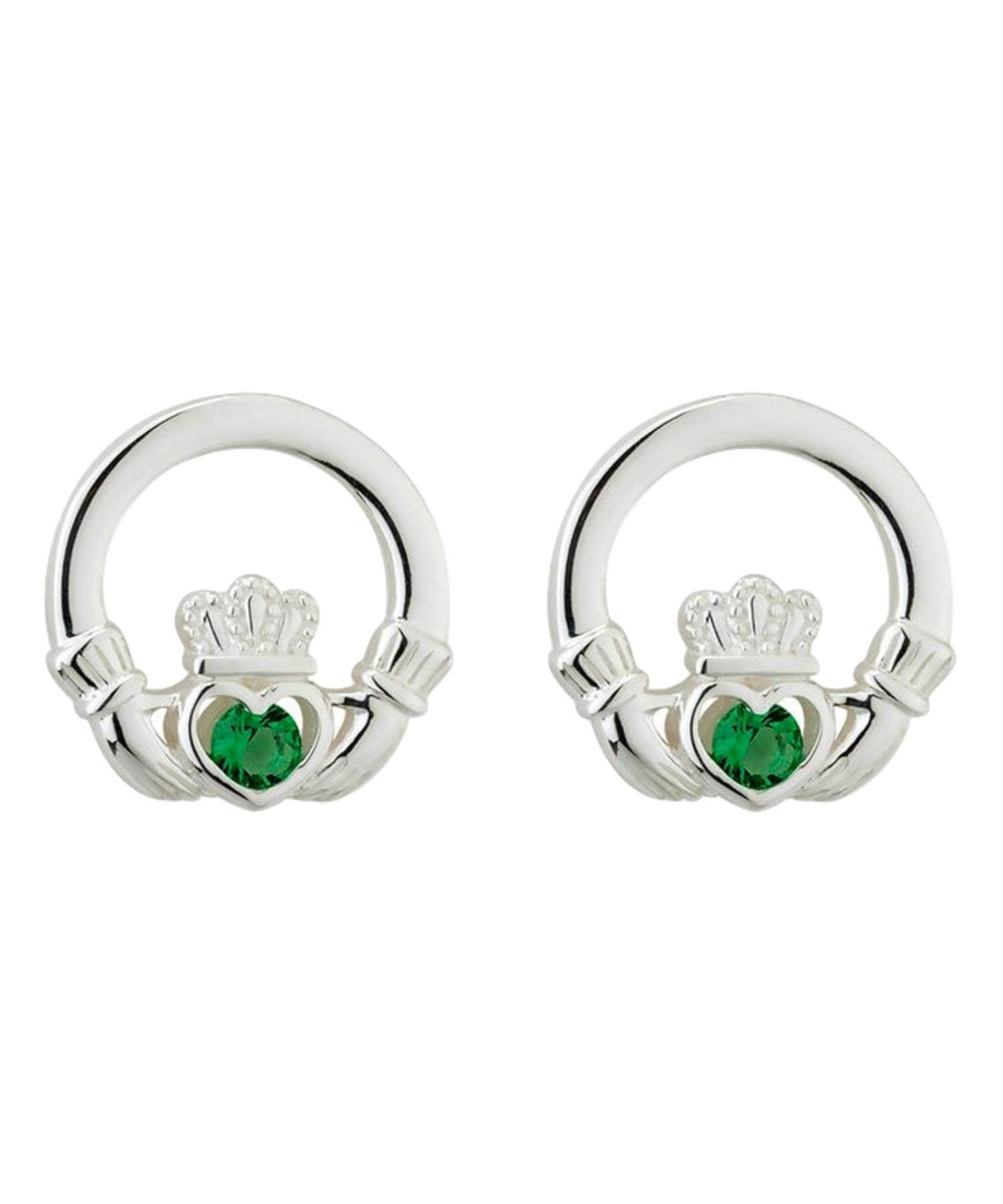 Green Crystal Claddagh Earrings Solvar Celtic Jewellery