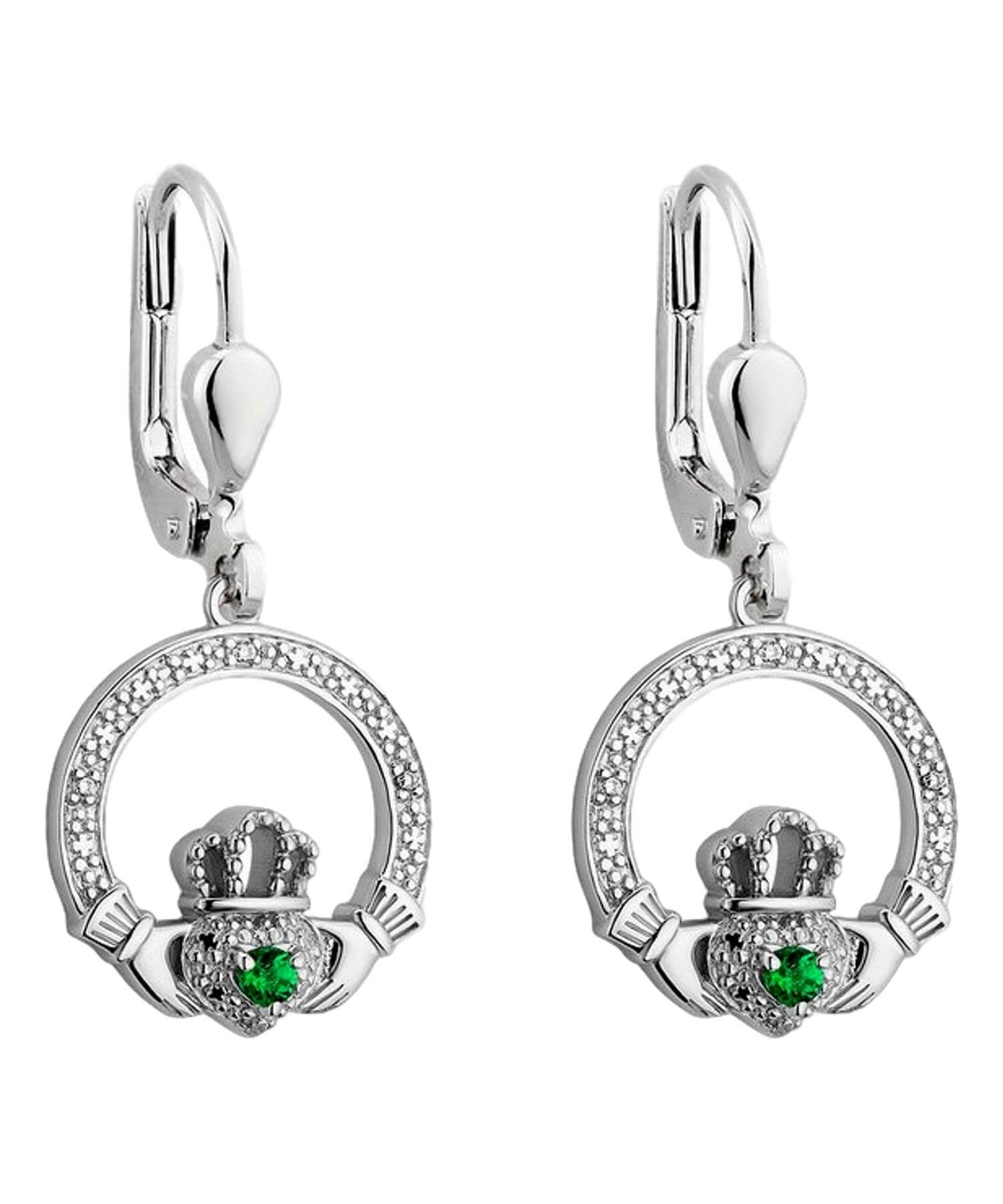 Crystal Claddagh Drop Earrings - [Solvar] - Jewellery - Irish Gifts