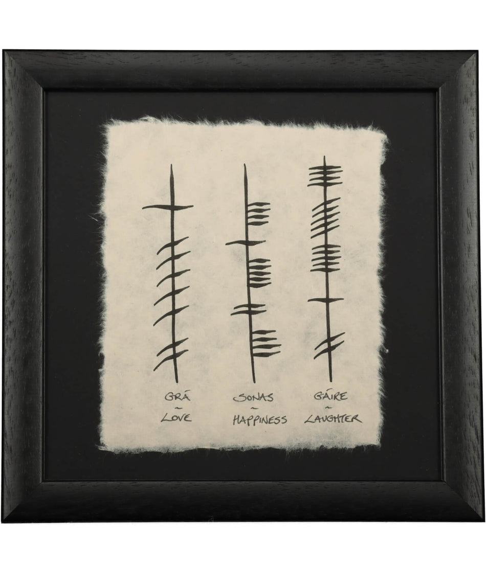 Ogham (Mini) - Love-Happiness-Laughter - [Ogham Wishes] - Wall Art & Photography - Irish Gifts