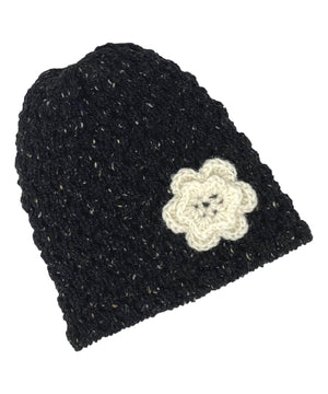 Wool Floral Cap - Black - [Jimmy Walsh] - Ladies Hats & Headbands - Irish Gifts
