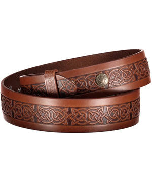 Setanta Snap On Belt - Brown - [Lee River] - Leather Belts & Buckles - Irish Gifts