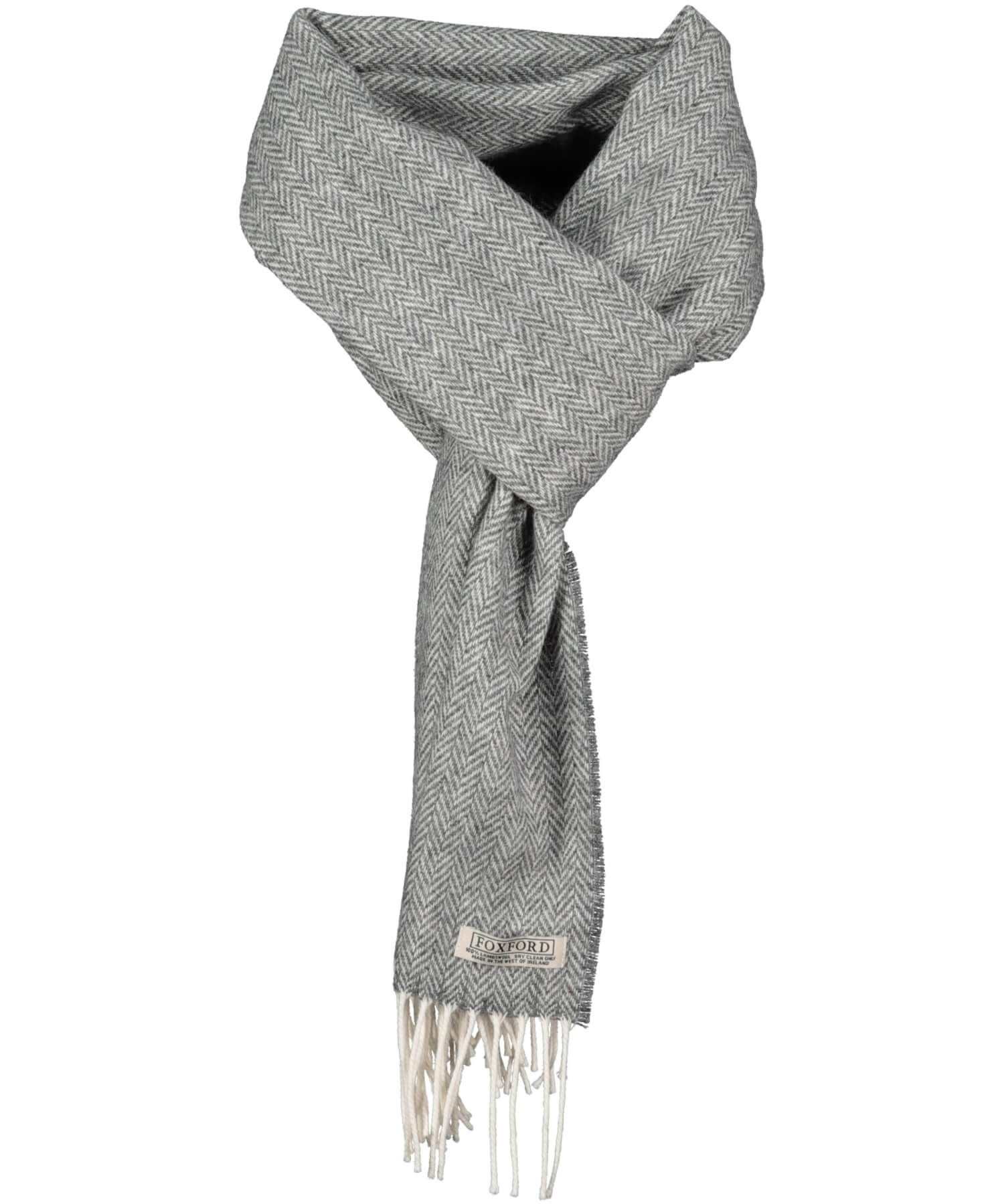 Lambswool Scarf - Smokey Herringbone - [Foxford] - Unisex Scarves - Irish Gifts