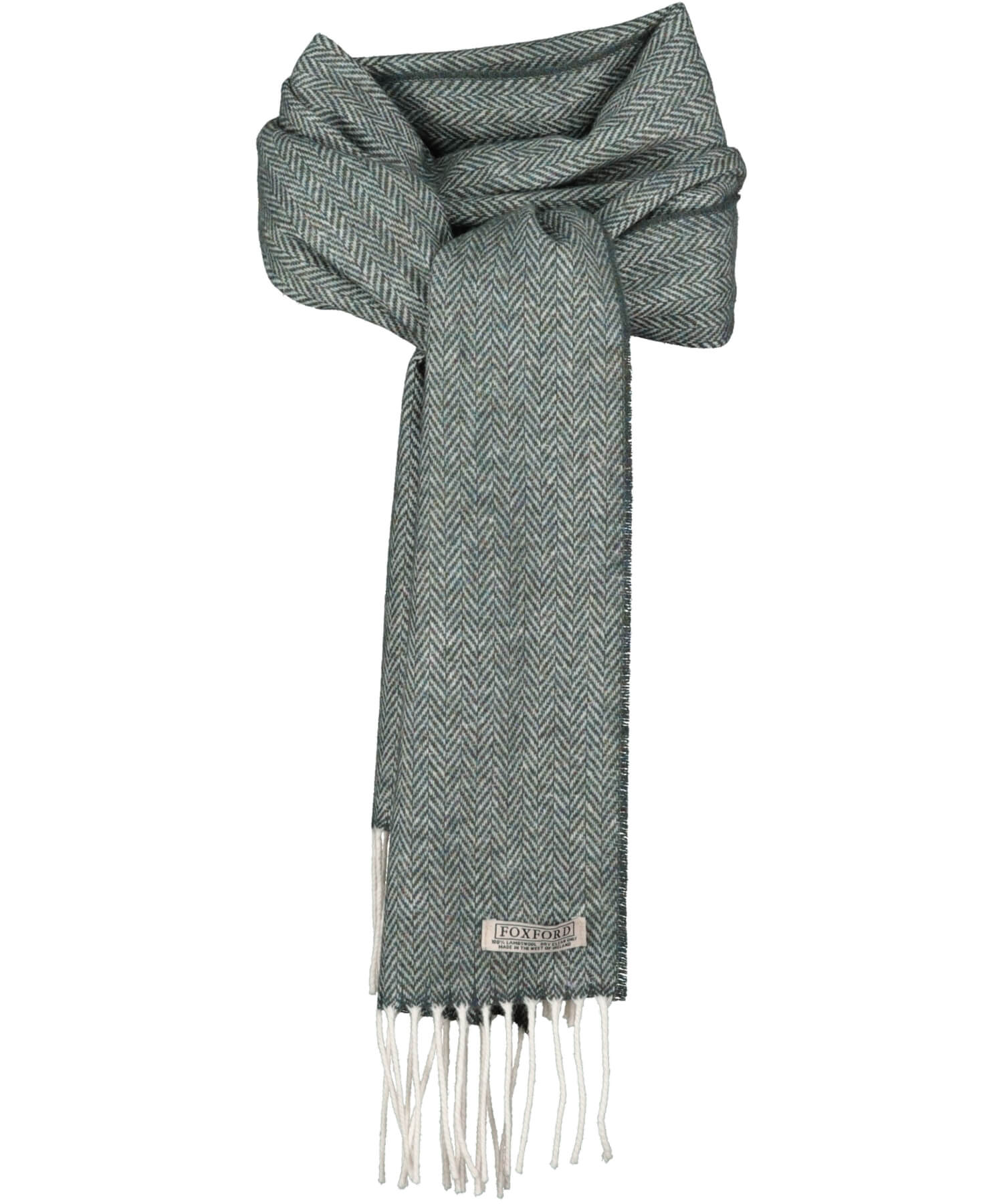 Lambswool Scarf - Emerald Herringbone - [Foxford] - Unisex Scarves - Irish Gifts