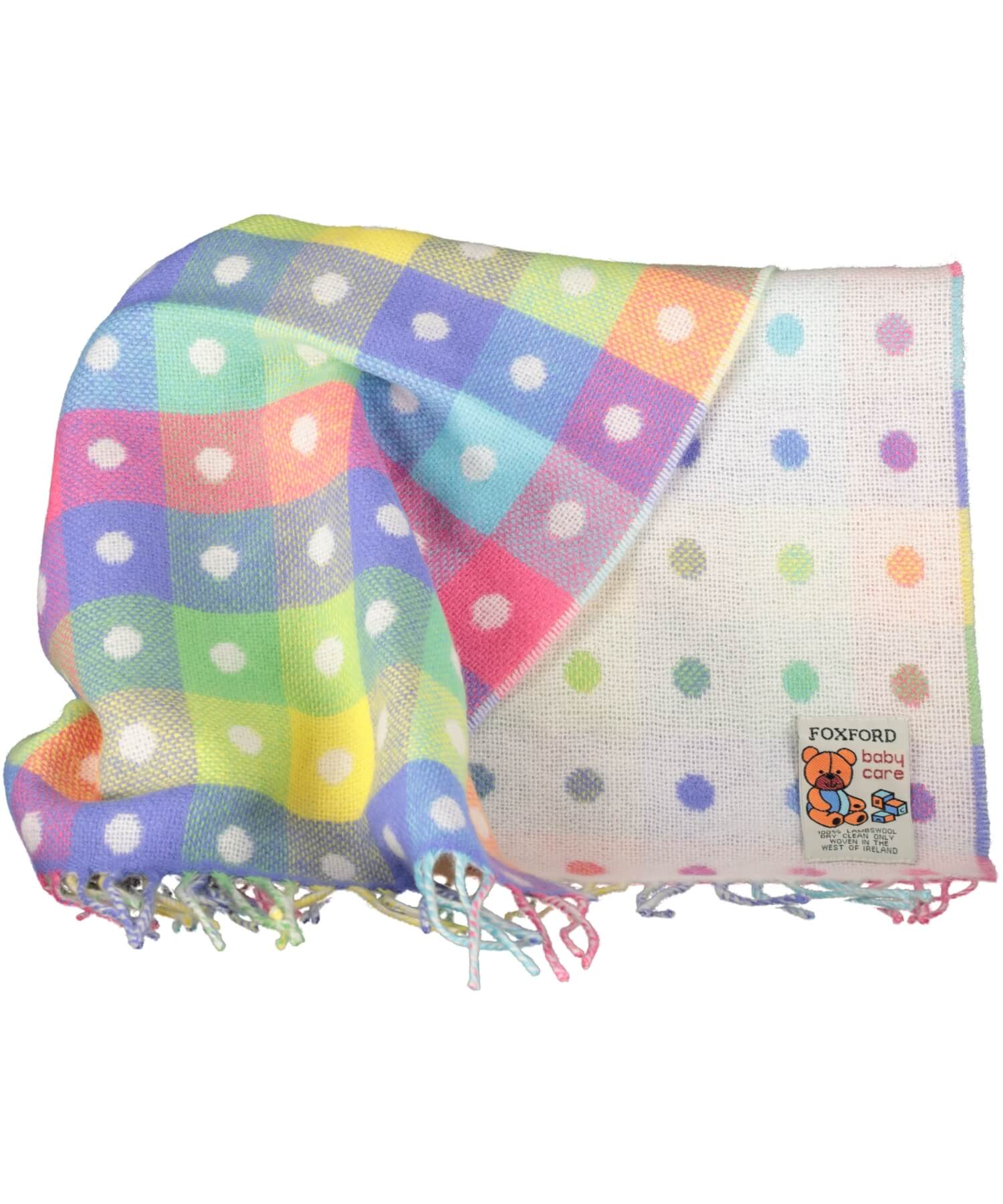 Baby Blanket - White Multi Spot - [Foxford] - Throws & Cushions - Irish Gifts