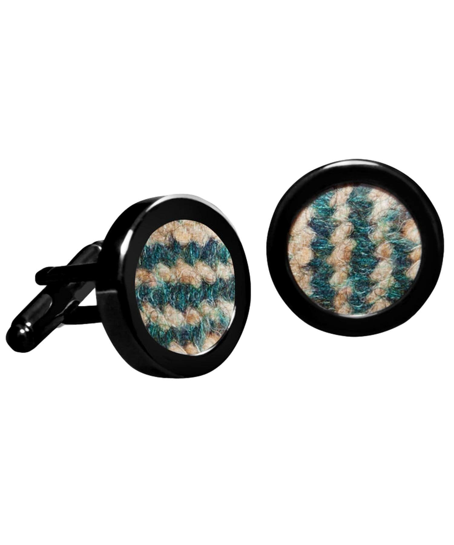 Donegal Tweed Cufflinks - Pine - [Orwell & Browne] - Jewellery - Irish Gifts