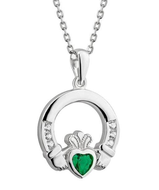 Green Crystal Claddagh Pendant Solvar Celtic Jewellery