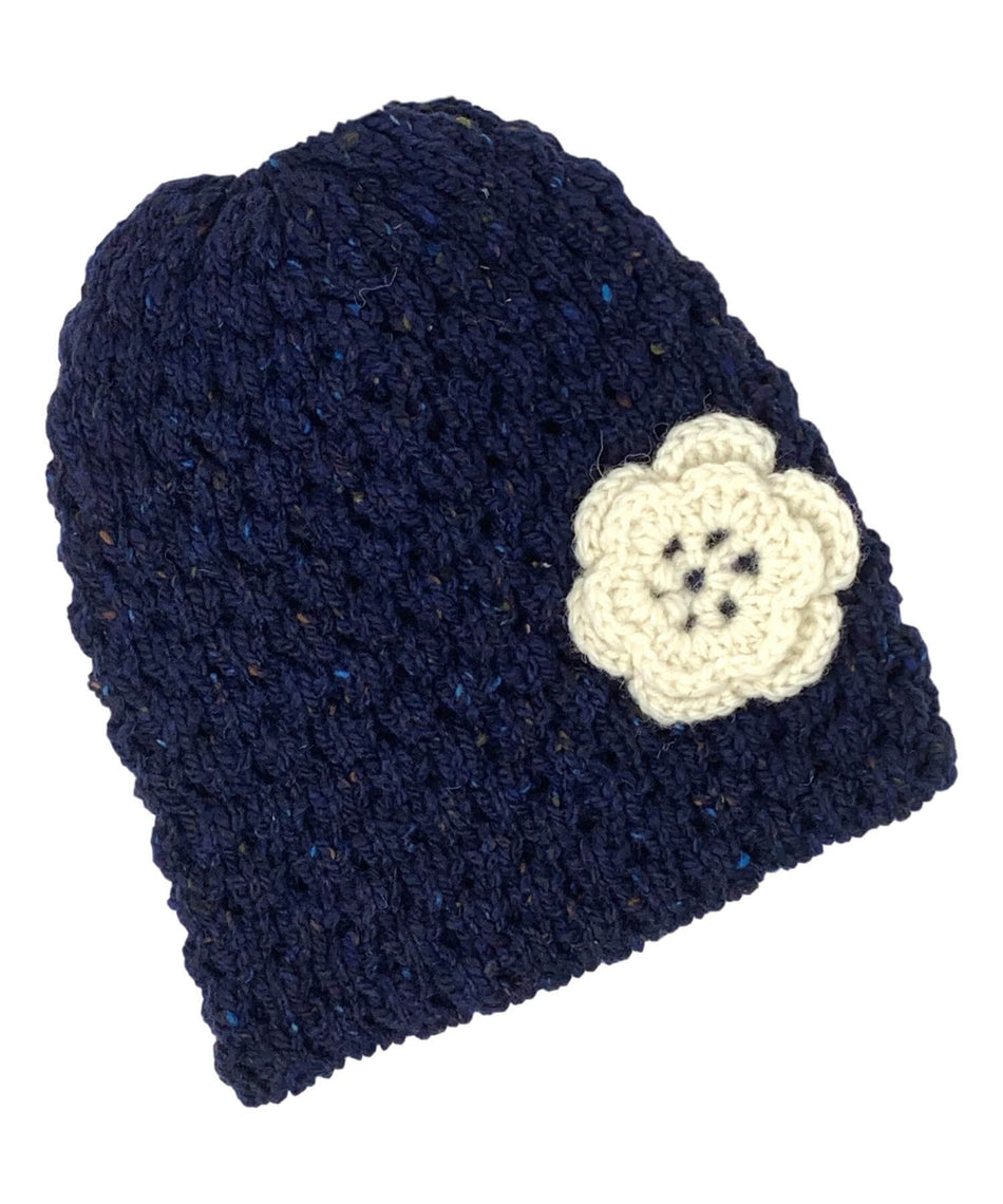 Wool Floral Cap - Navy - [Jimmy Walsh] - Ladies Hats & Headbands - Irish Gifts