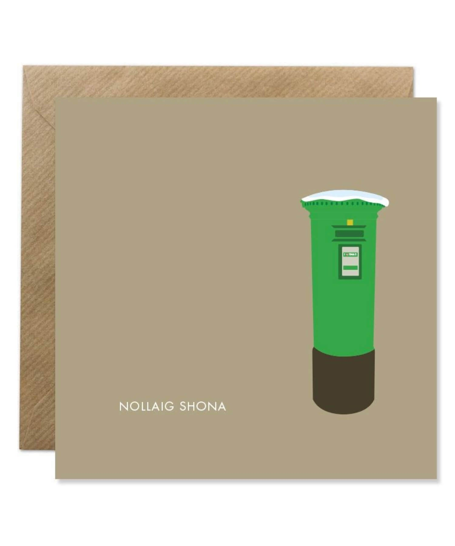 Greeting Card - Nollaig Shona - Postbox - [Bold Bunny] - Greeting Cards - Irish Gifts