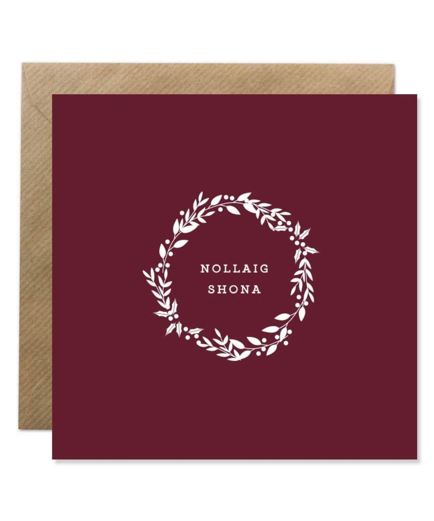 Greeting Card - Nollaig Shona - Wreath - [Bold Bunny] - Greeting Cards - Irish Gifts