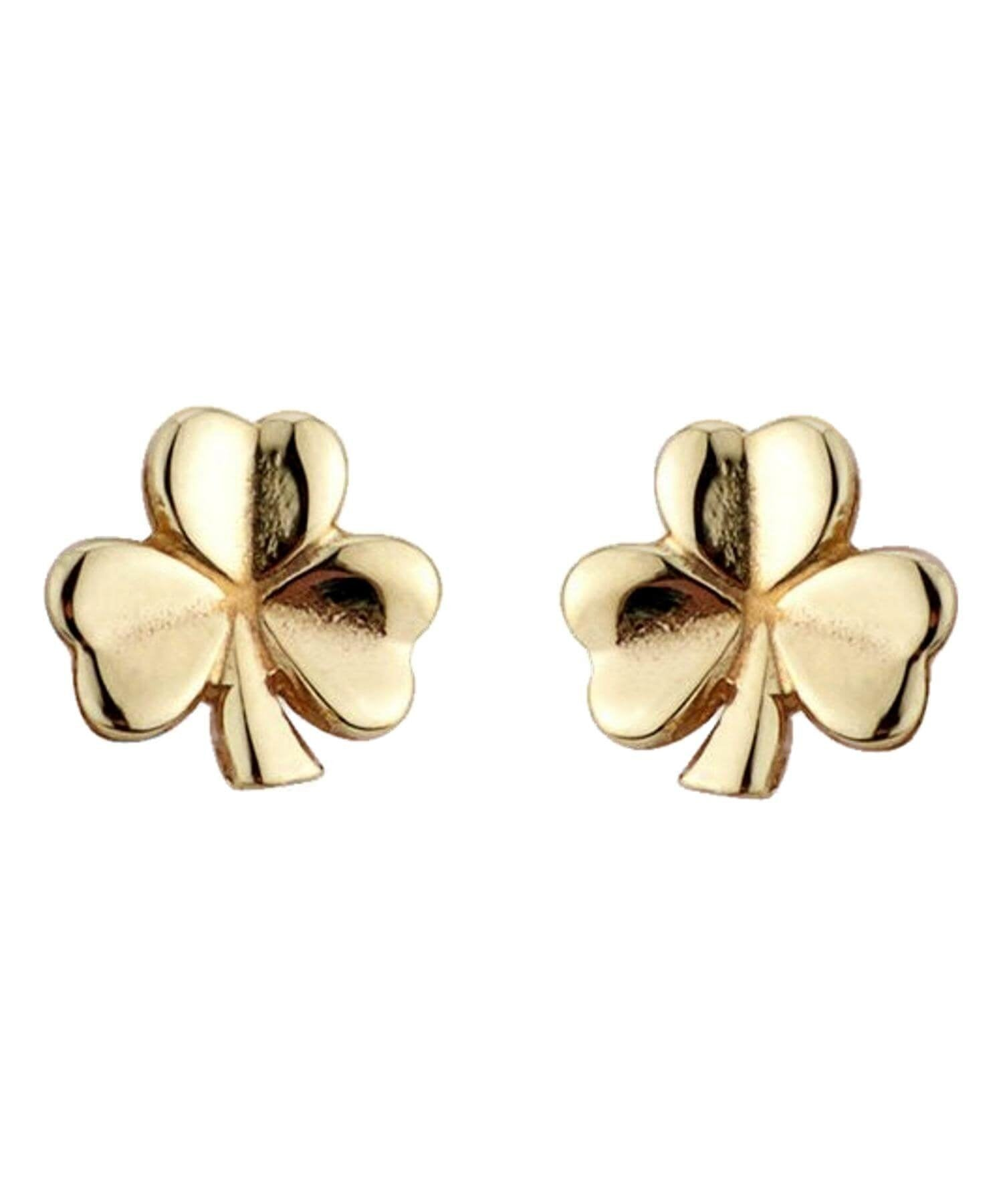 Gold Shamrock Earrings Solvar Celtic Jewellery