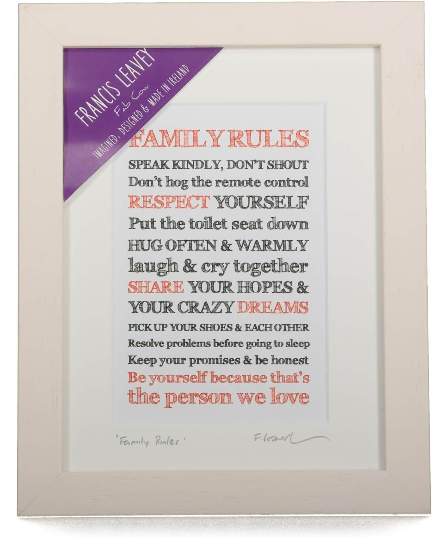 Framed Print - Family Rules Fab Cow Wall Art & Photography