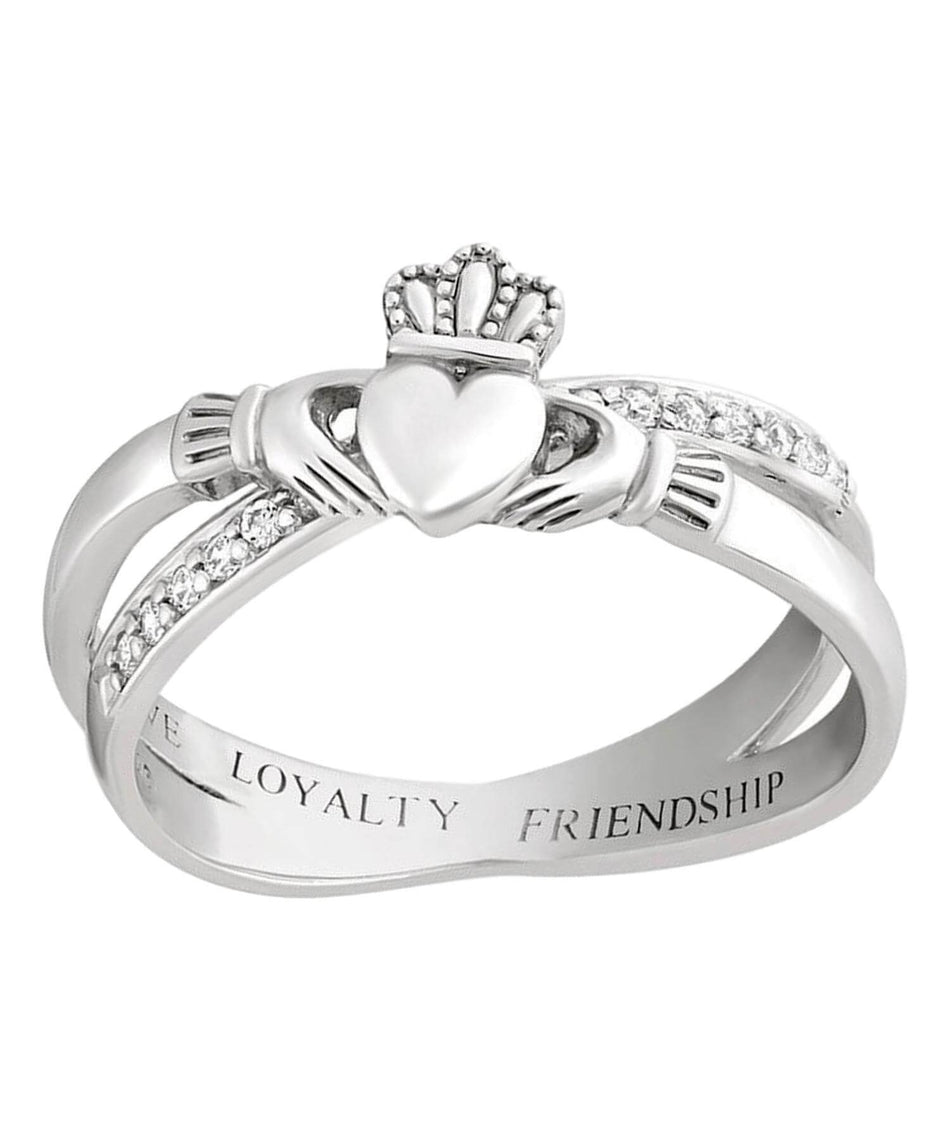 Crystal Claddagh Crossover Ring - [Solvar] - Jewellery - Irish Gifts
