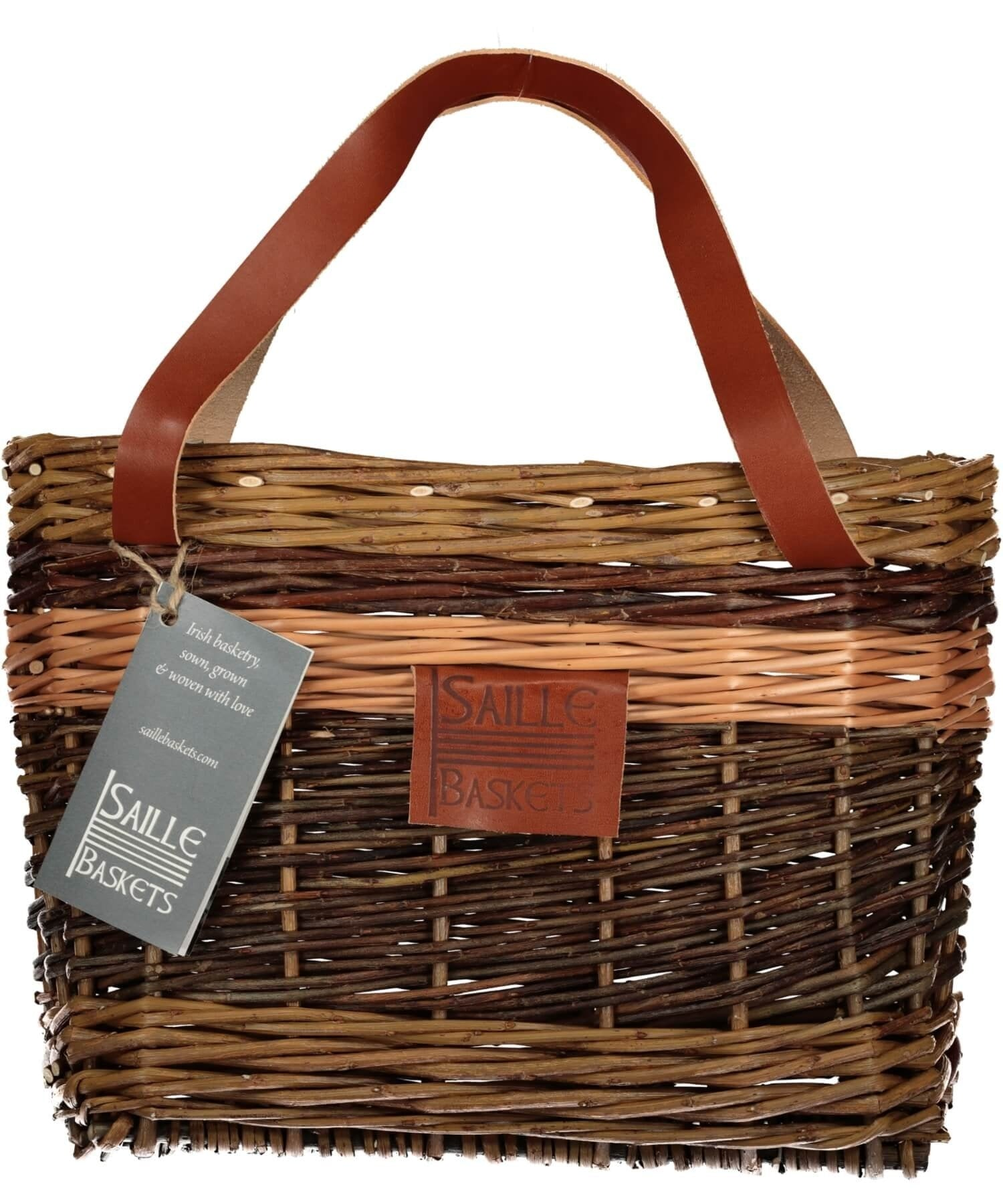 Lunch Pouch - Dark Brown Saille Baskets Wood & Slate